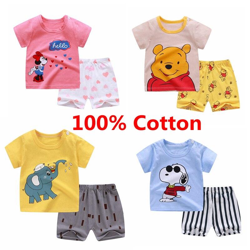 Ropa para bebés, 2 uds., trajes de manga corta, camiseta y pantalones para niños, conjuntos de ropa de verano para niñas, camisetas para niños, ropa de verano para niños