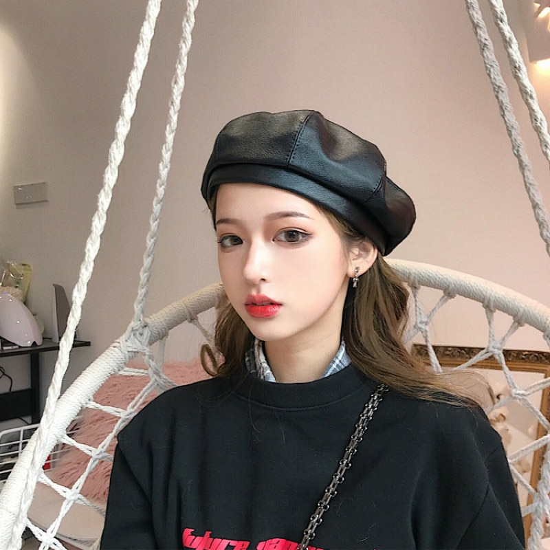 2020 New Fashion Leather Beret Hats PU Leather French Artist Beret Fashion Hats for Women Girls Autu