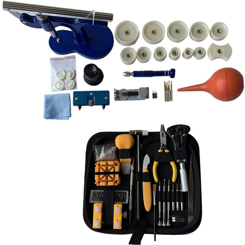 Kit de reparación de reloj 213 uds, Kit de herramientas de repuesto de pilas para reloj con Estuche de transporte y juego de prensa de reloj