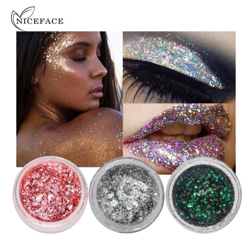 Makeup Eye Glitter 7 Colors Nail Hair Body Face Glitter Gel Art Flash Heart Loose Sequins Cream Fest