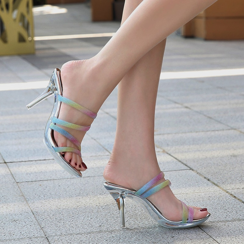 2021 Designer Crystal Sexy Women's Sandals Woman Slippers Lady Transparent High Heels Lady Clear Pum