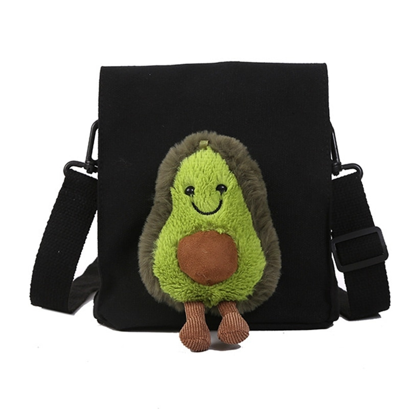 Linda muñeca de aguacate bandolera bolso de lona divertida historieta estudiante Mini viaje bolso de hombro monedero