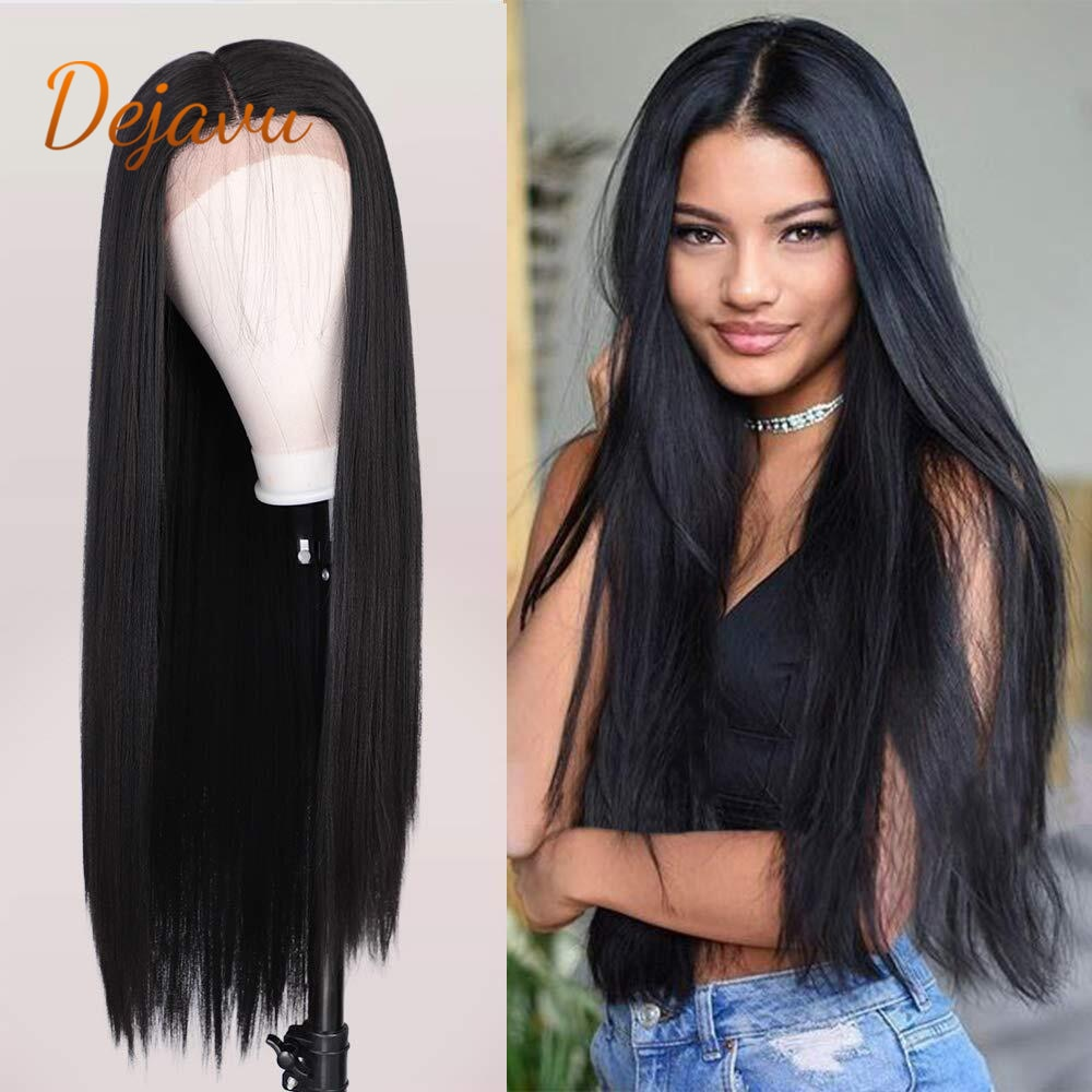 Black Lace Front Wigs Long Straight Synthetic Wig Pre Plucked Lace Wig Natural Looking Wigs Brazilian Remy Human Hair Wigs