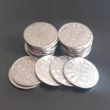 100 Pcs 25*1.85 Mm Metalen Arcade Game Tokens Rvs Arcade Game Coin Pentagram Crown Tokens