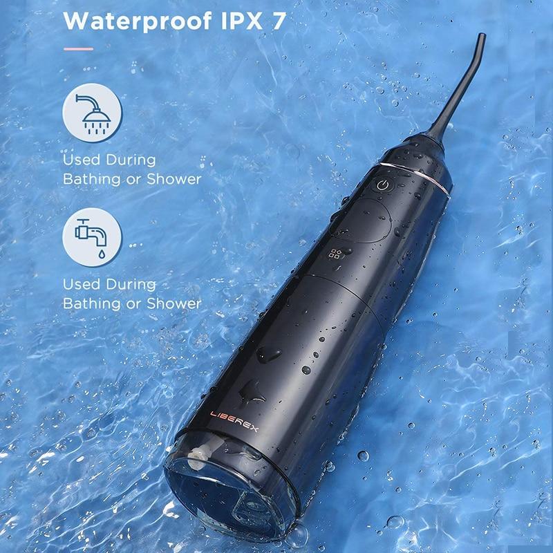 Wit Zwart Water Flosser Monddouche Voor Tanden Draagbare Dental Cleaning Elektrische Oral Care 300Ml Waterdicht Voor Familie enlarge