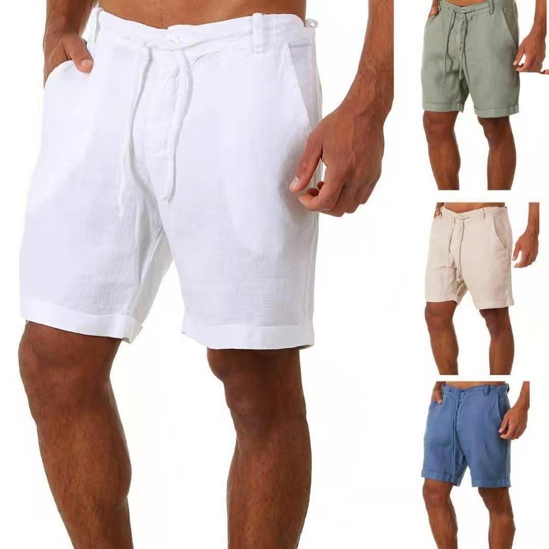 Шорты мужские повседневные, штаны для мальчиков, модные льняные, белые, лето 2021