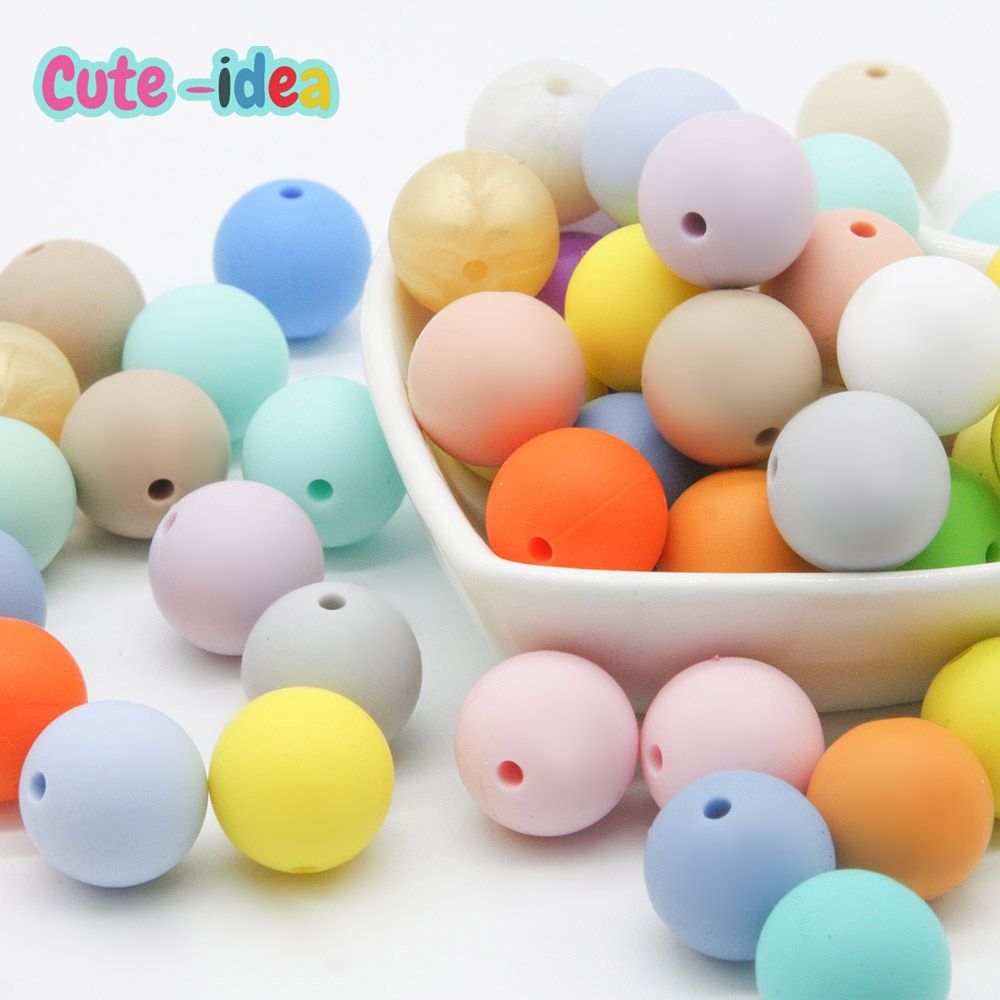 Cute-Idea 500pcs Silicone Round Beads Teether 19mm Food Grade  Handmade Making Pacifier Chains Toys BPA Free Baby Product