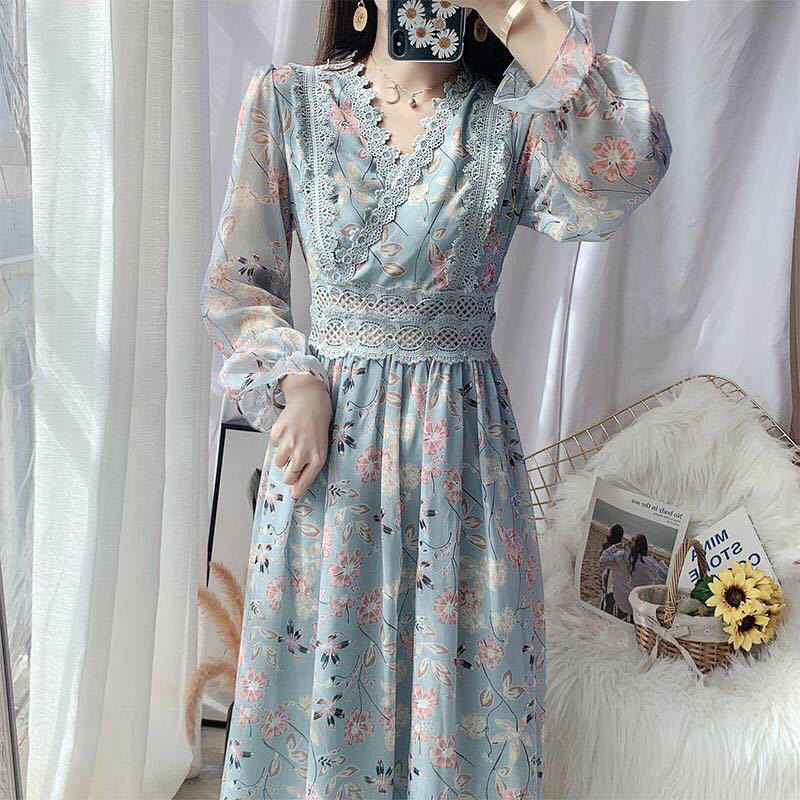 Spring 2021 New Women's Long Sleeve Lace Floral Chiffon Dress Waist Slim Temperament Long Dress Plus