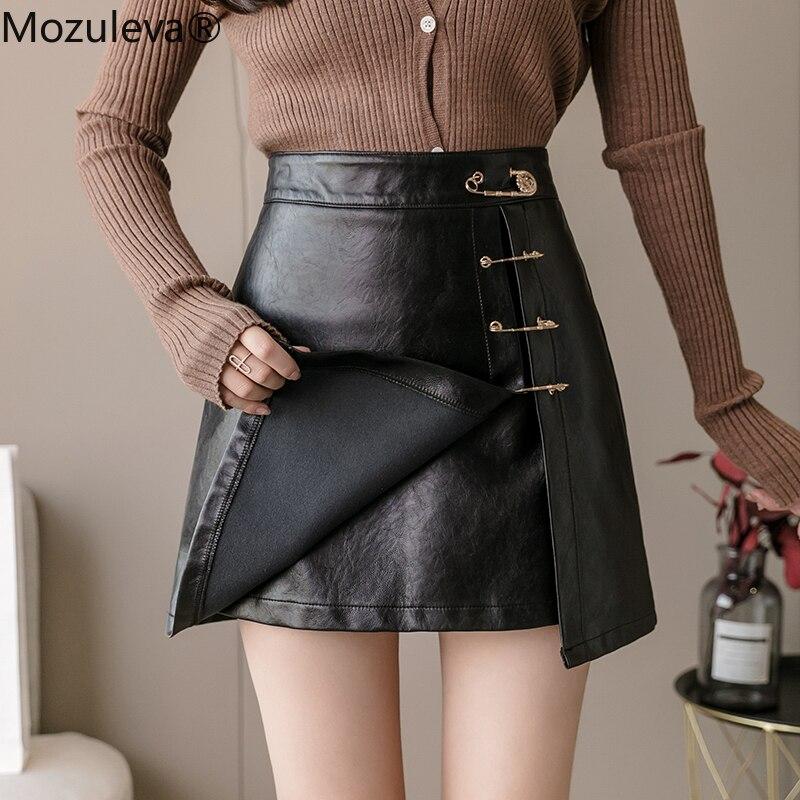 Falda de cintura alta Mozuleva 2020 para otoño e invierno, falda de piel sintética con Pin dividido, faldas entalladas de línea A