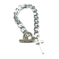 gothic style silver chain jewellery bracelet luxury cross pendant charm on link womens bracelets one direction toggle clas
