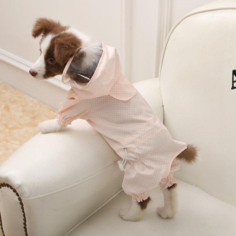 Wave point Pet Dog Waterproof Raincoat Jumpsuit Reflective Rain Coat Sunscreen Dog Outdoor Clothes Jacket for Dog Pet Supplies