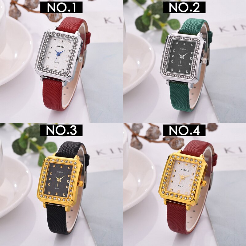 MODIYA Fashion Casual Women's Watches Quartz Retro Rhinestones Wristwatches Leather Band Watch