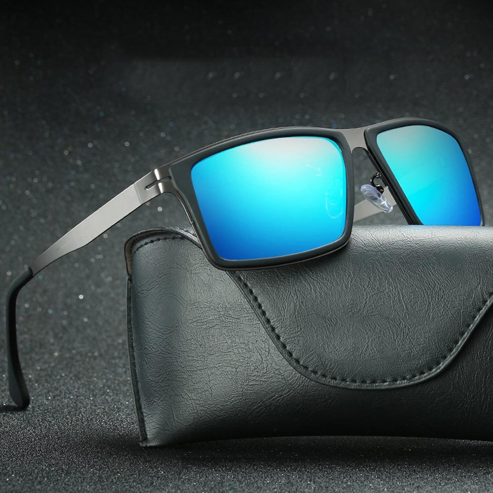 2021 Mirror Lens Matel Frame Men Polarized Sunglasses UV400 Driving Glasses For Men 4 Colors With Box