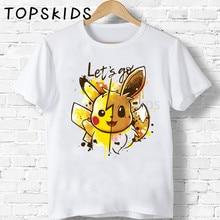 2020 Cute Pikachu & Eevee Lets Go Print Children T shirt Funny Pokemon Baby Boys Tops Girls Clothes Summer Kids T-shirt,HKP2208