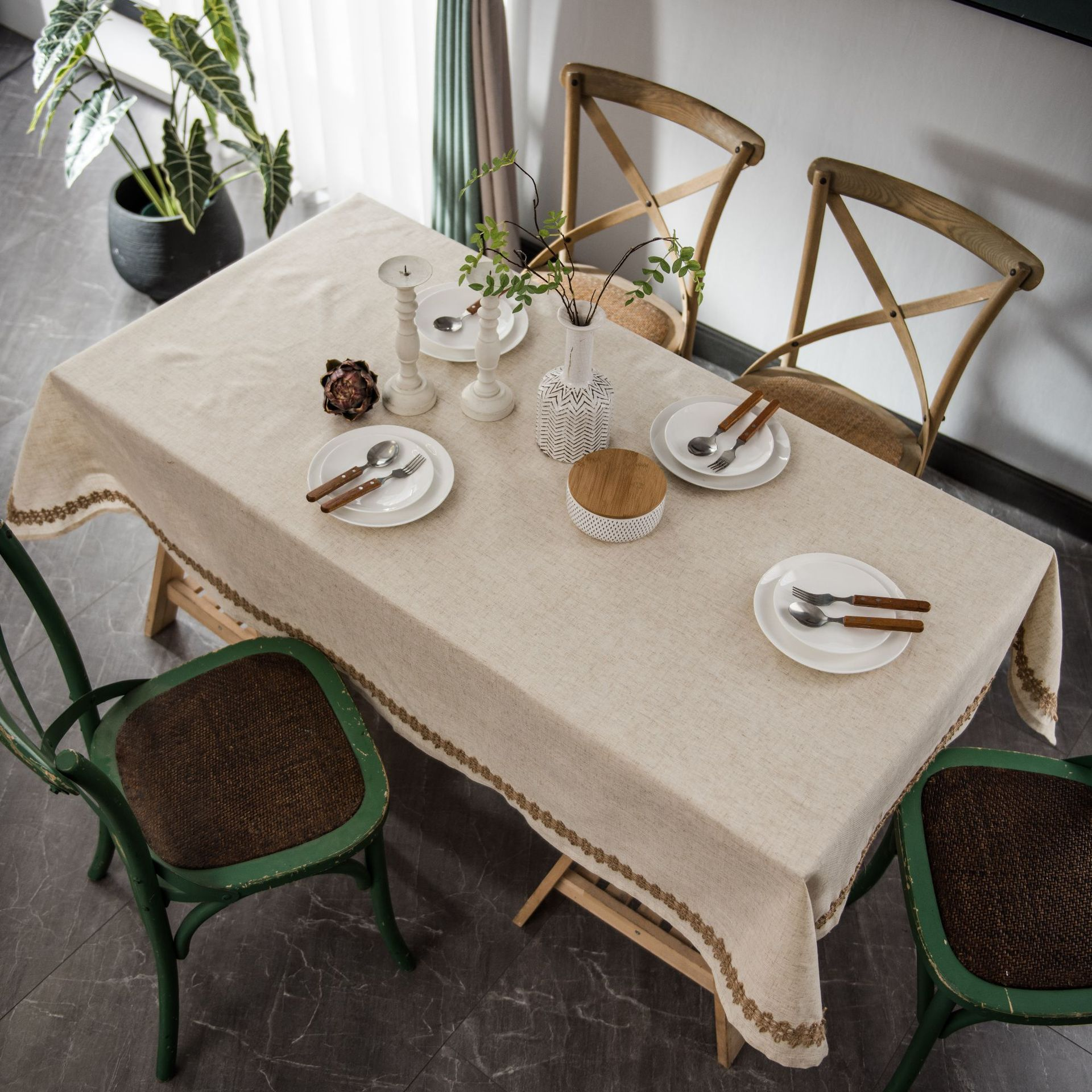 Mantel de lino y poliéster para mesa de casa, mantel Rectangular para...