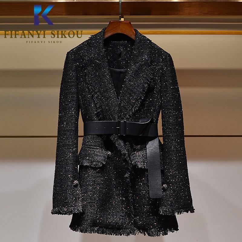 2020 Autumn Winter Women Blazer Jacket Designer Fashion Single Breasted Belt Black Suit Jacket Lady Elegant Formal Blazers Coat