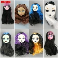 1pc straight wavy curly wig hair doll head for demon monster high doll heads for monster dolls kids girls diy dollhouse toy gift