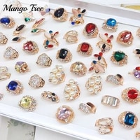 wholesale 20pcslot crystal rhinestone rings mix style men and women retro natural stone band new fashion jewelry party gifts