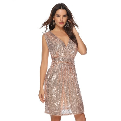 2021 Fashion Women New Sequin Deep V Neck Sleeveless Plus Size Sequins Sexy Short Mini Club Vestido De Fiesta