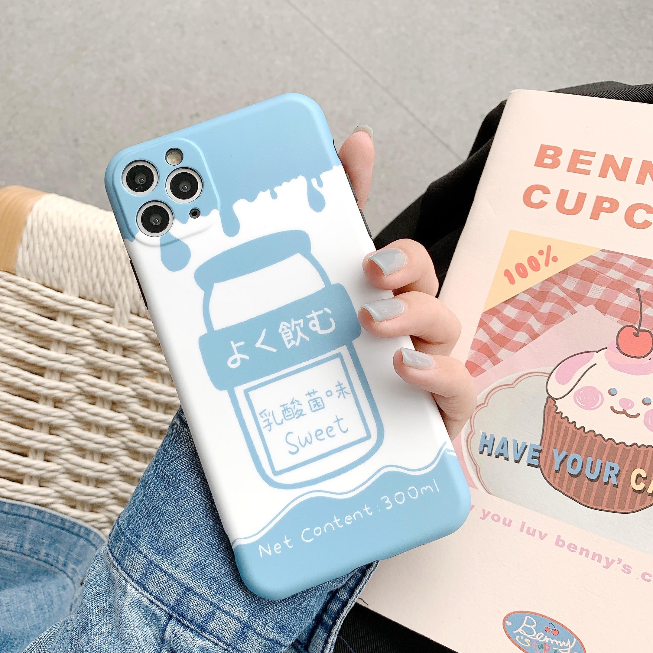 Para iphone 11 Pro Max agujero preciso divertido Japón azul Yakult moda suave teléfono caso para iphone 8 8plus 7 7plus X XR XS MAX cubierta