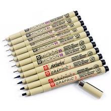1 stück Pigment Liner Pigma Stift Mikron Marker Stift 0,05 0,1 0,2 0,3 0,4 0,5 0,8 Pinsel Verschiedene Spitze Schwarz fineliner Skizzieren Stift