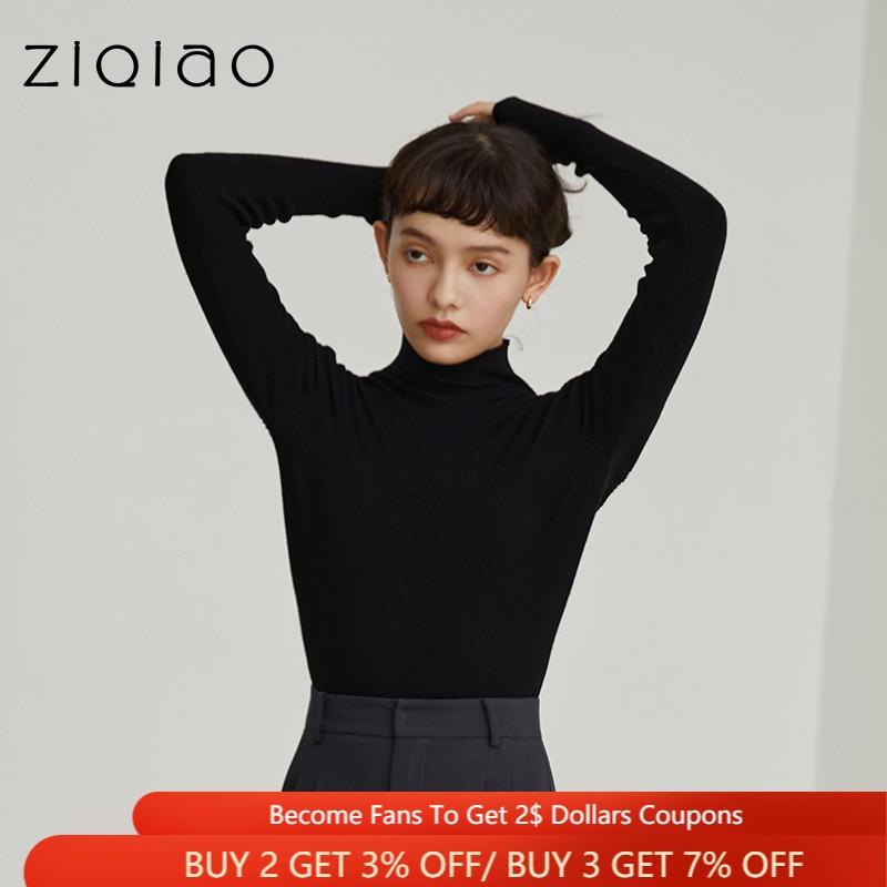 ZIQIAO سترة المرأة الأسود نصف عالية الرقبة محبوك قاع قميص أوائل الخريف البلوز القمم كل مباراة داخل الصلبة رداء علوي من الصوف