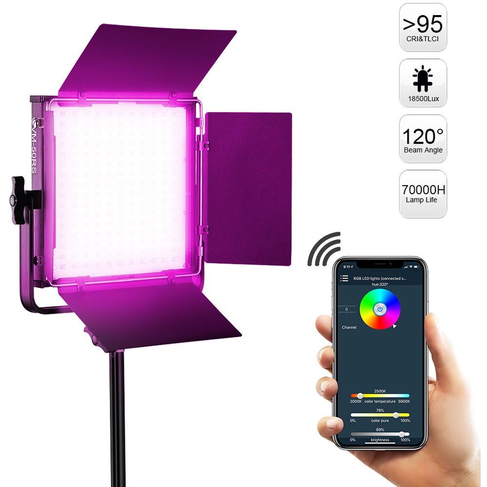GVM RGB إضاءة الفيديو GVM-50RS التصوير الفوتوغرافي الملونة عكس الضوء 192 LED الخرز لوحة مع التطبيق عن بعد