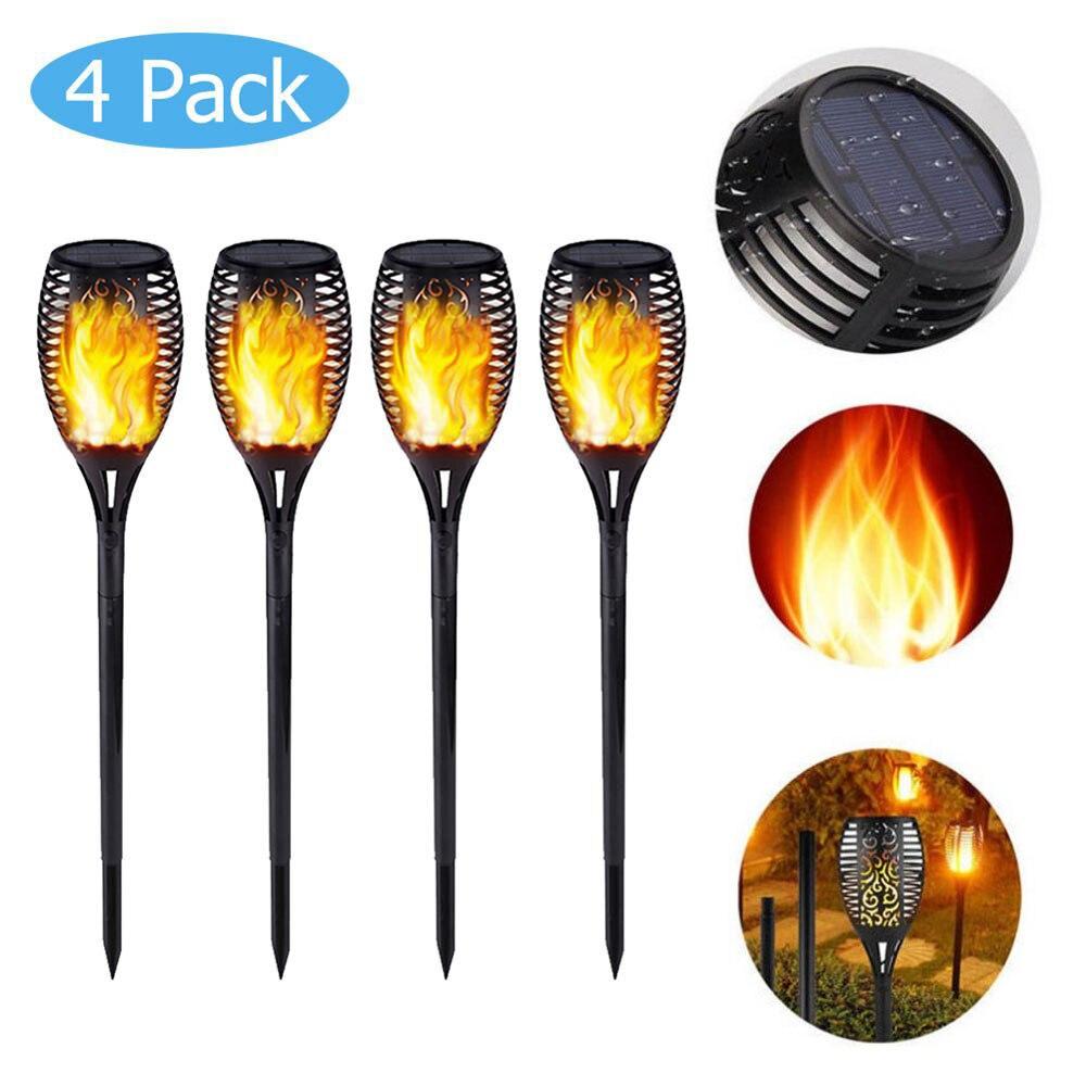 Lâmpada led com 33/72led, chama solar, para decoração de jardim, à prova d água ip65, para paisagem, gramado, iluminação de caminho, tocha