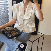 CMAZ Short Jackets For Women Turn Down Collar Short Sleeve Large Pockets Fashion Streetwear Clothing
