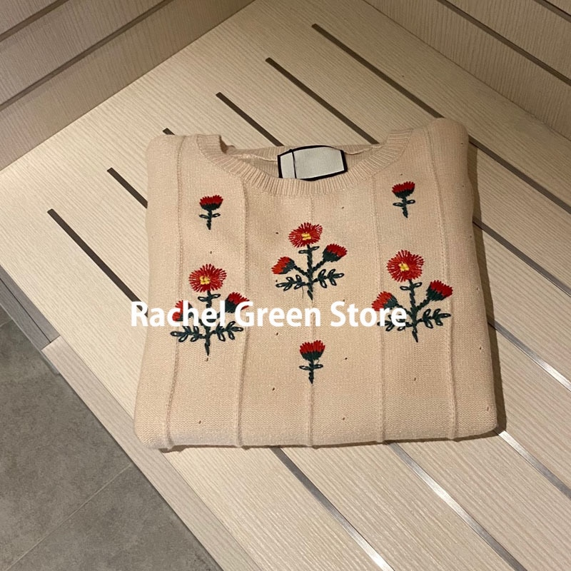 Luxury Design Branded Wool Flower Embroidery vintage Fashion Sweaters fall 2021 women jumpers high end knitted woman sweater S-L enlarge
