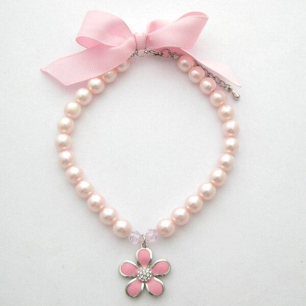 Collar de perlas para perro, diamantes de imitación con abalorio floral para mascotas, joyería para perros y gatos