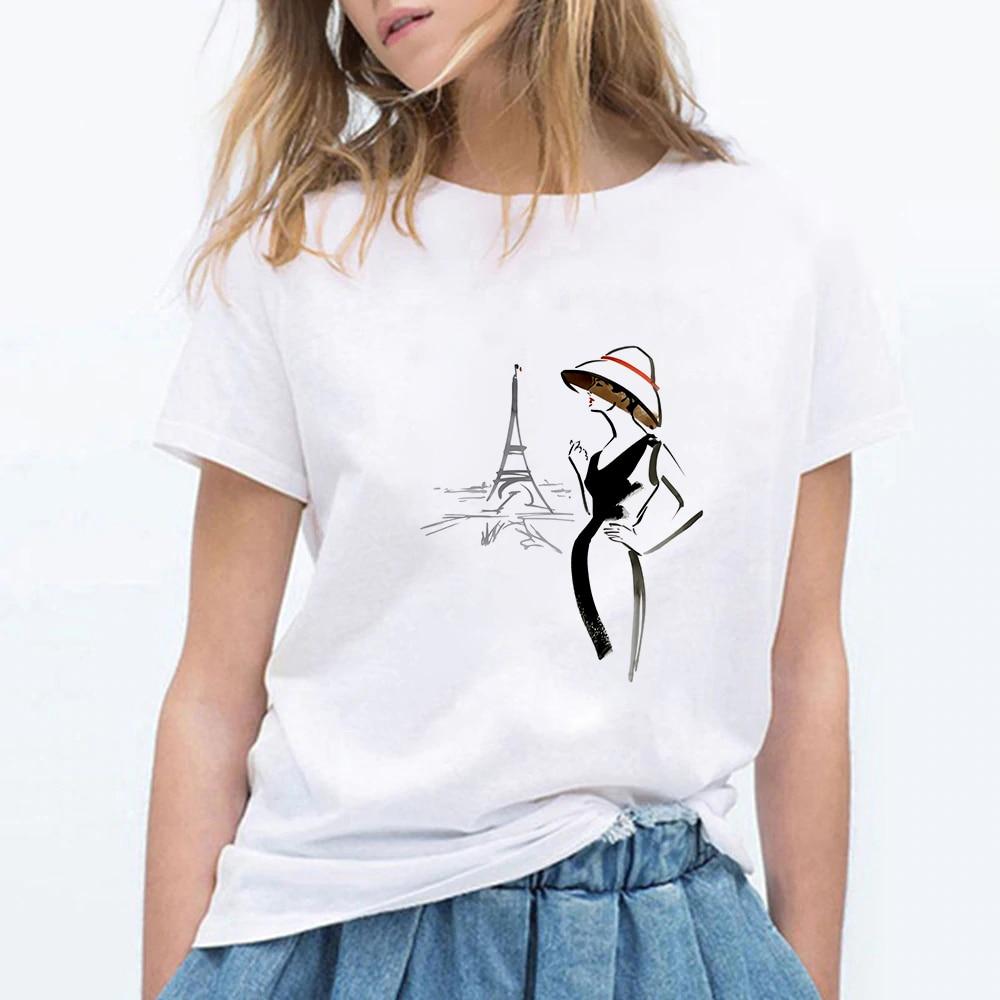 Arte gótico Paris Tower Girl estampado calle moderna Kawaii Ropa Mujer suelta camiseta de moda de gran tamaño