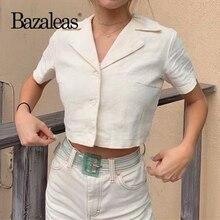 Bazaleas Fashion White Cropped blouse women Turn down Collar Crop Top blusas mujer de moda 2019 Vintage blouses Dropshipping
