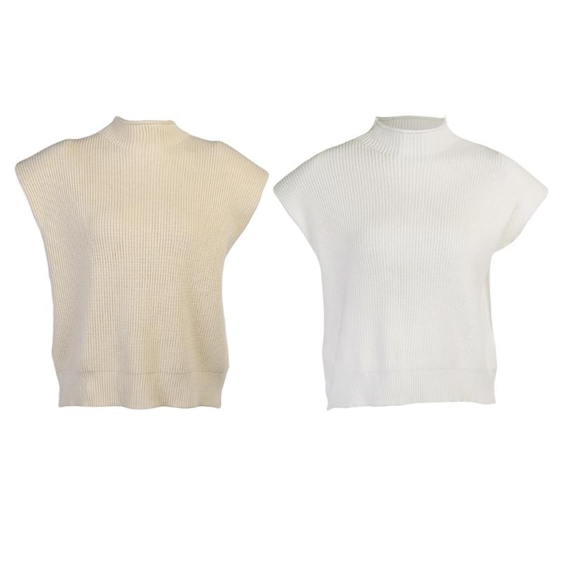 Women Ribbed Knit Loose Sleeveless Vest Turtleneck Solid Color Sweater Tank Top enlarge