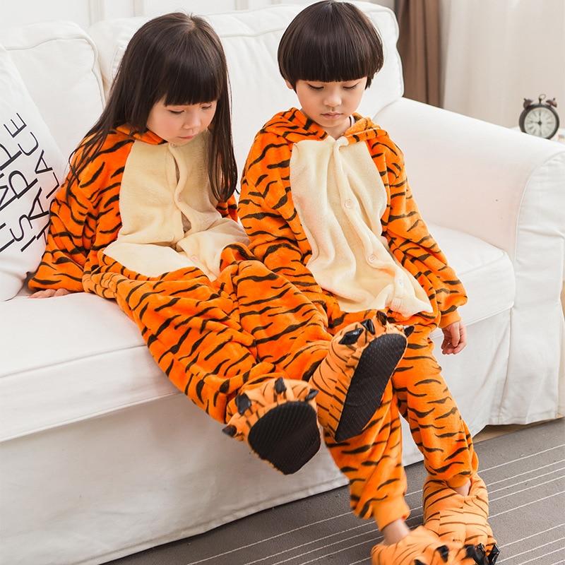Trajes Halloween Kids Animal Dos Desenhos Animados Tiger Outfit Bonito Flanela Especial Do Partido Da Menina do Menino Macacão Pijama Terno