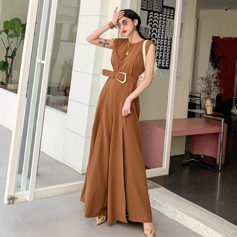 Fashion Elegant Sexy Split Wide Leg Jumpsuit Sashes Sleeveless Solid Jumpsuit Women 2020 New Summer Long Romper For Woman Korean