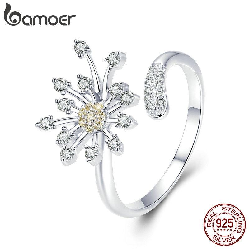 Anillos de plata de ley 925 con diseño de diente de león de BAMOER, anillos ajustables de amor CZ para mujer, joyería de compromiso de boda SCR471