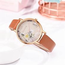 Top Brand Women's Watch Silicone Printed Flower Causal Quartz Analog Wrist Watches Freeshipping Relo