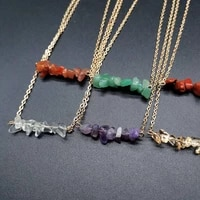 irregular natural crystal stone handmade pendant necklaces with gold plated chain for women girl party club decor jewelry