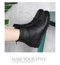 SWONCO Flats Shoes Winter Women Ankle Boots Black 2019 Velvet Fur Cotton Padded Shoes Female Casual Snow Boots Back Zipper