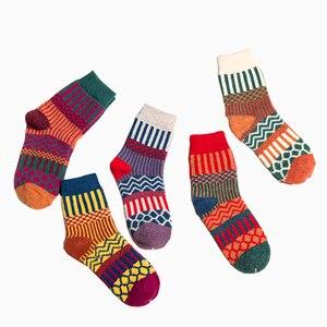 5pairs/Lot New Winter Women Warm Thicken National Wind Wool Socks Medium Tube Rabbit Wool Crew Socks Designer Socks  Smiley