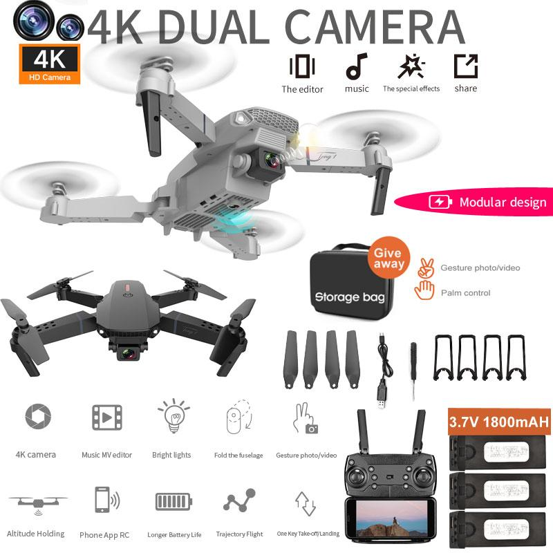 2021 NEW E88 drone 4k pro HD Drone With Dual camera drone WiFi 1080p real-time transmission FPV drone follow me rc Quadcopter