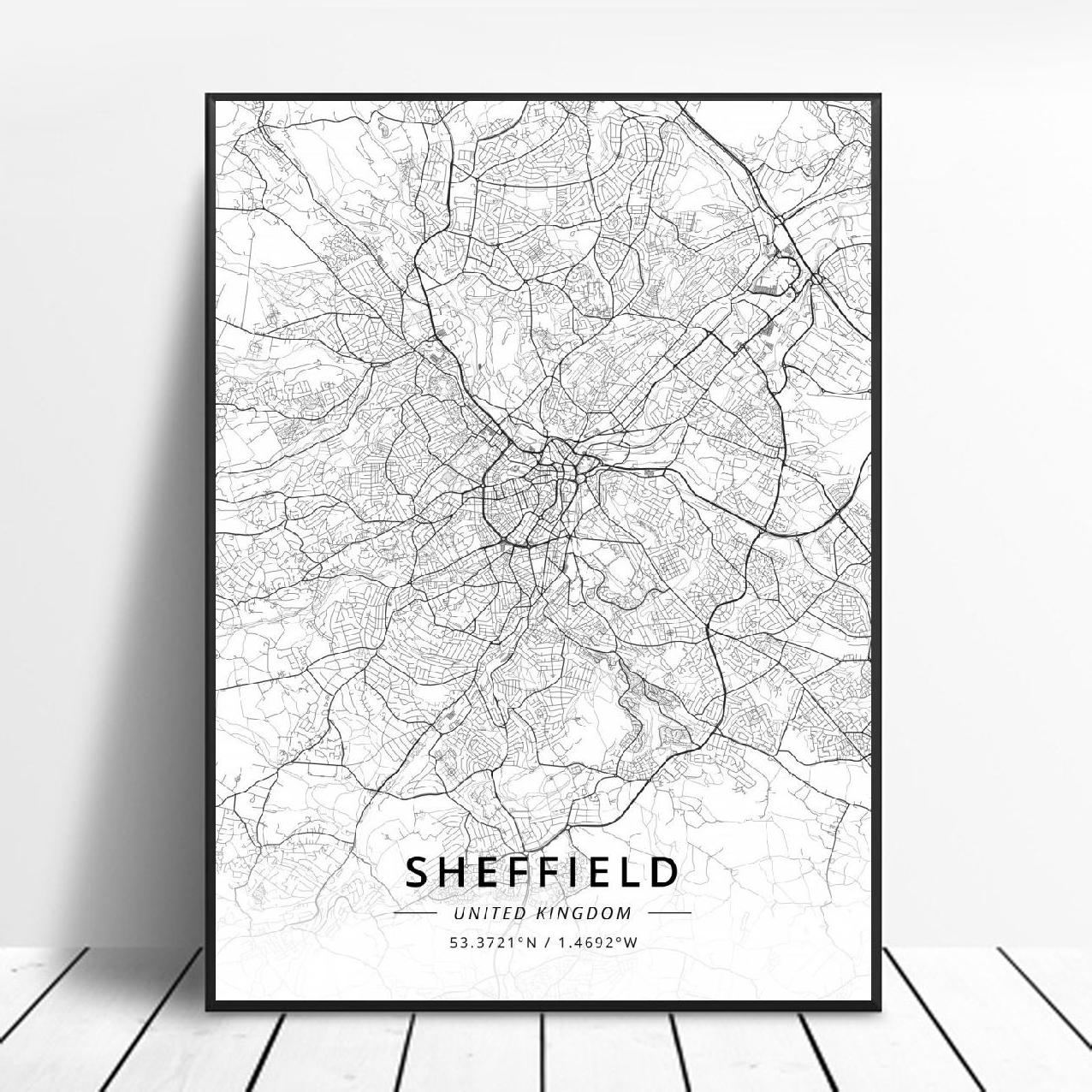 Sheffield-Póster de arte en lienzo con mapa del Reino Unido, cartel de...