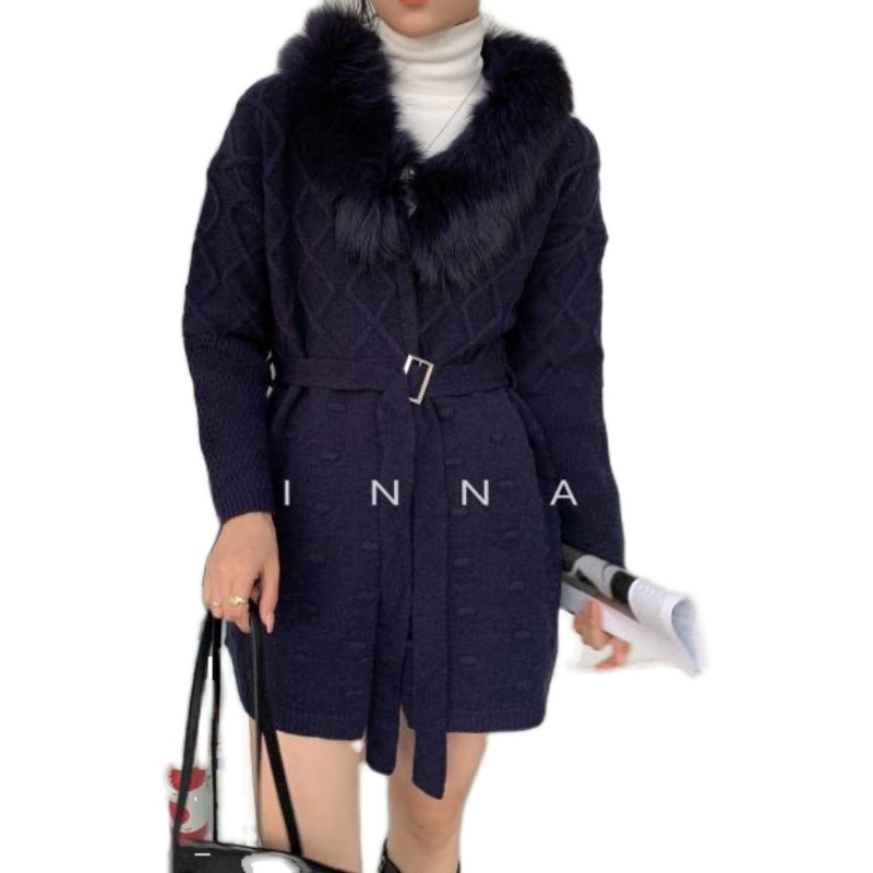 Sweater Cardigan Feminino Women 's Coat 2020 New Loose Commuting Temperament Mid - Length Real Fox Fur Collar Knitted Cardigan enlarge