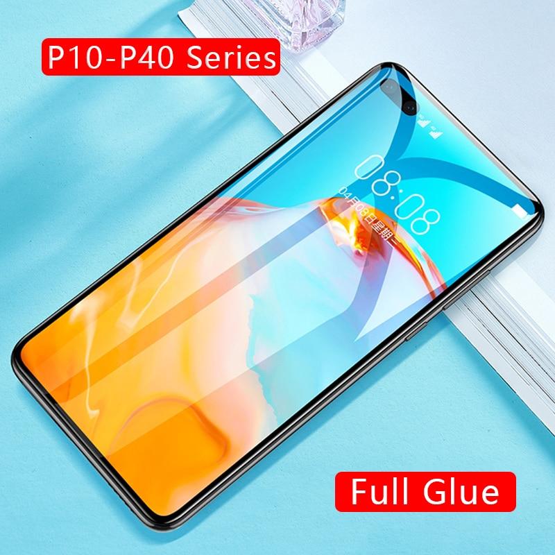 Caso huawei p40 lite e p30 luz p20 pro p10 plus protector de pantalla de vidrio templado coque p 40 30 20 10 p40lite p30lite