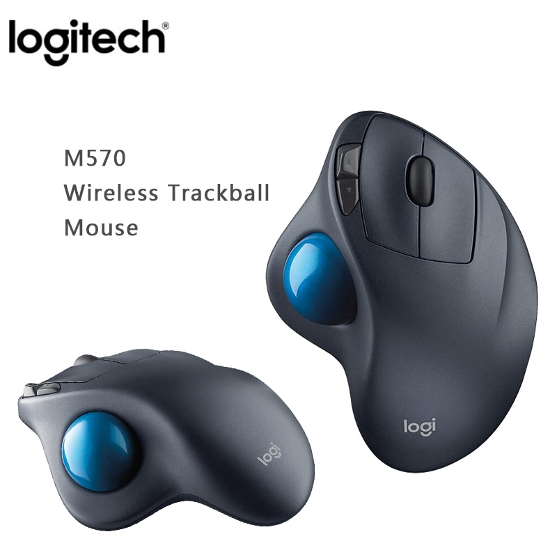 Ratón inalámbrico Logitech M570 2,4 Ghz Trackball 100% ratones láser ergonómicos profesionales originales de dibujo Vertical para Win10/8/7