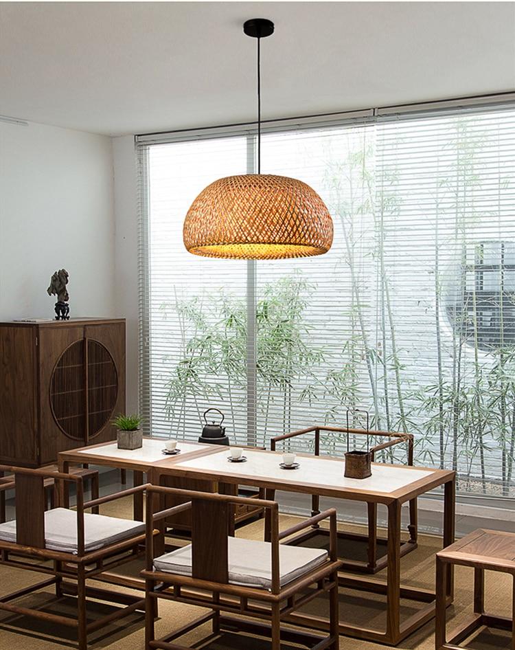 بامبو الطبيعي قلادة أضواء الخيزران مصباح اليابان مطعم فندق قلادة مصباح ل غرفة المعيشة شنقا المطبخ مصباح