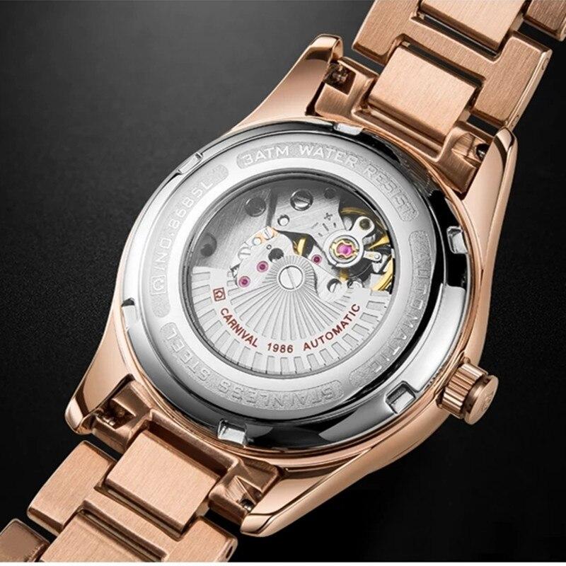 CARNIVAL Brand Women Fashion Mechanical Watch Ladies Waterproof Luminous Starry Sky Casual Automatic Wristwatch Relogio Feminino enlarge