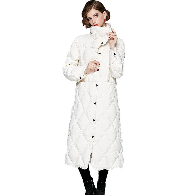 معطف شتوي للنساء, معطف شتوي نسائي لون نقي للإناث أوروبا والولايات المتحدة ملابس طويلة دافئة