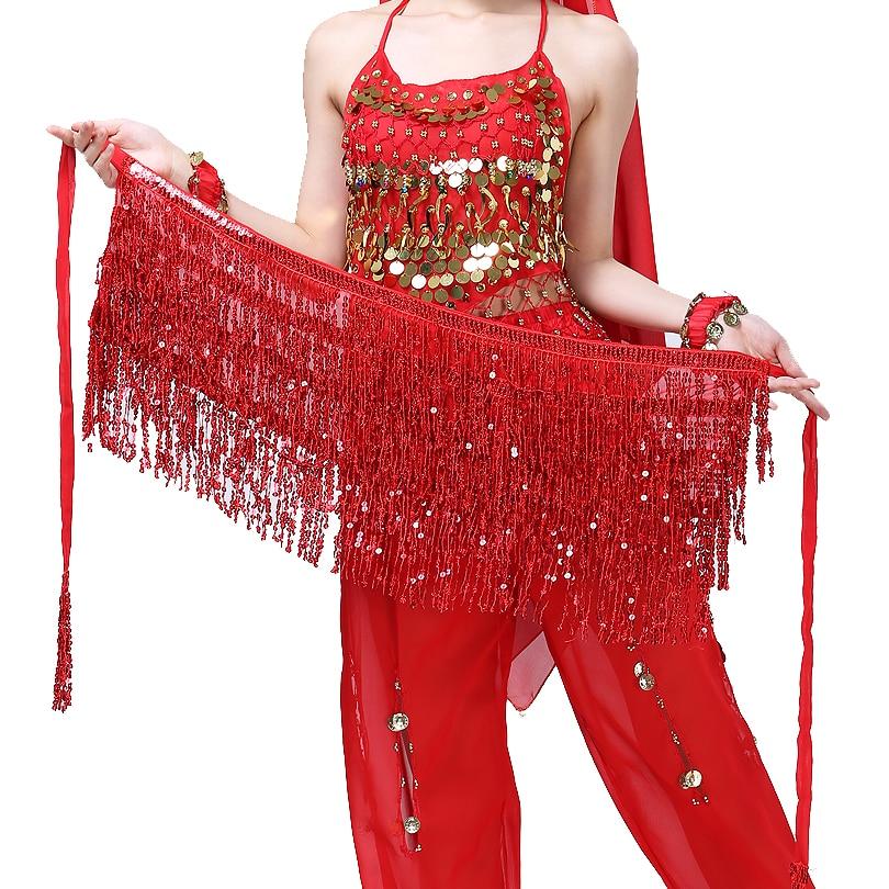 Sequin Tasssel Festival Hip Skirt Belly Dance Hip Scarf Halloween Cosplay Performance Wear Stage Sho
